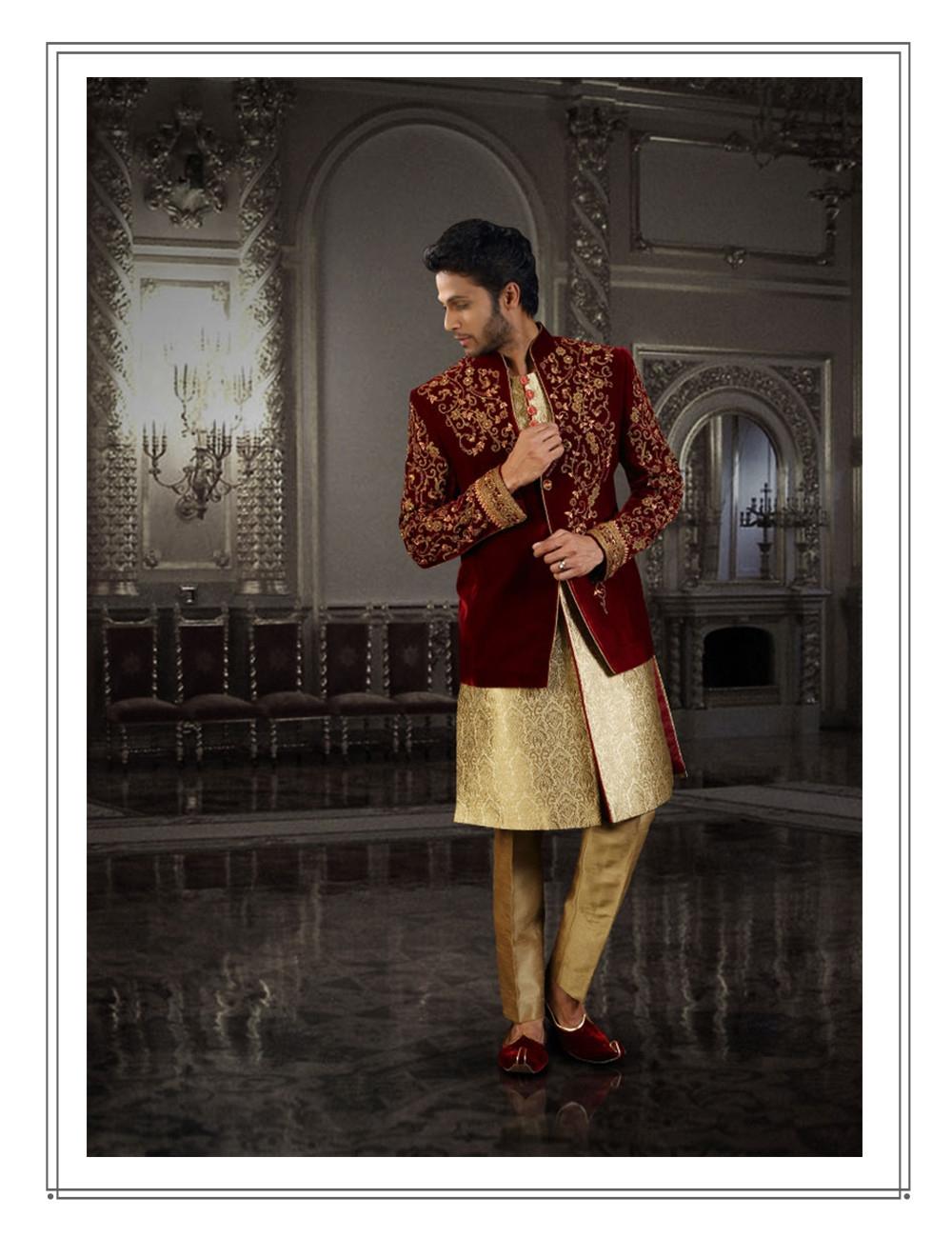 Maroon gold Indo-western Sherwani & Gold Churidar