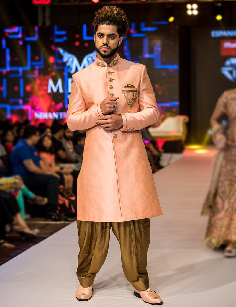 Classy Light Orange Sherwani With Brown Dhoti