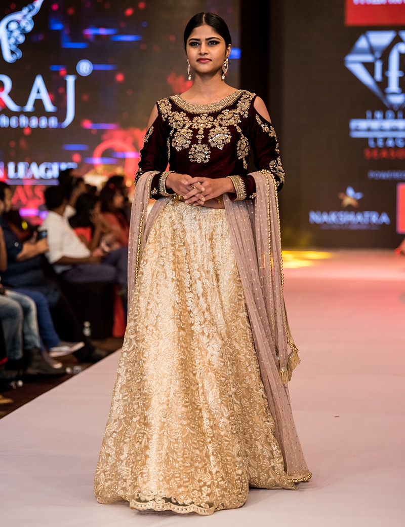 Cream Lehenga Cold Shoulder Blouse
