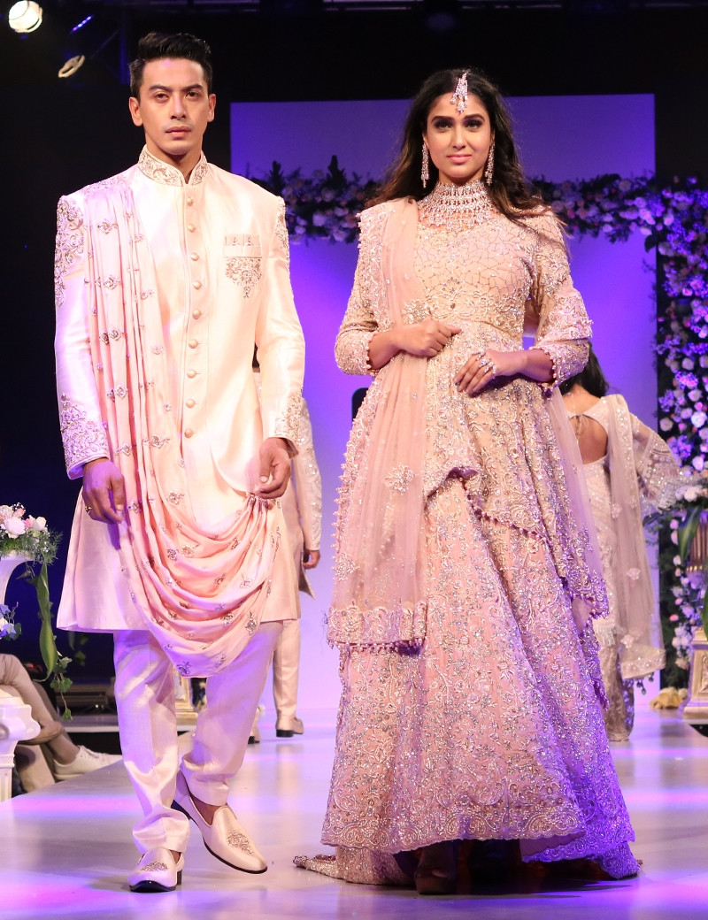 Perfect Couple In Peach Embellished Ensemble