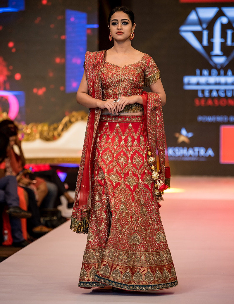 Red Antique Gold Lehenga