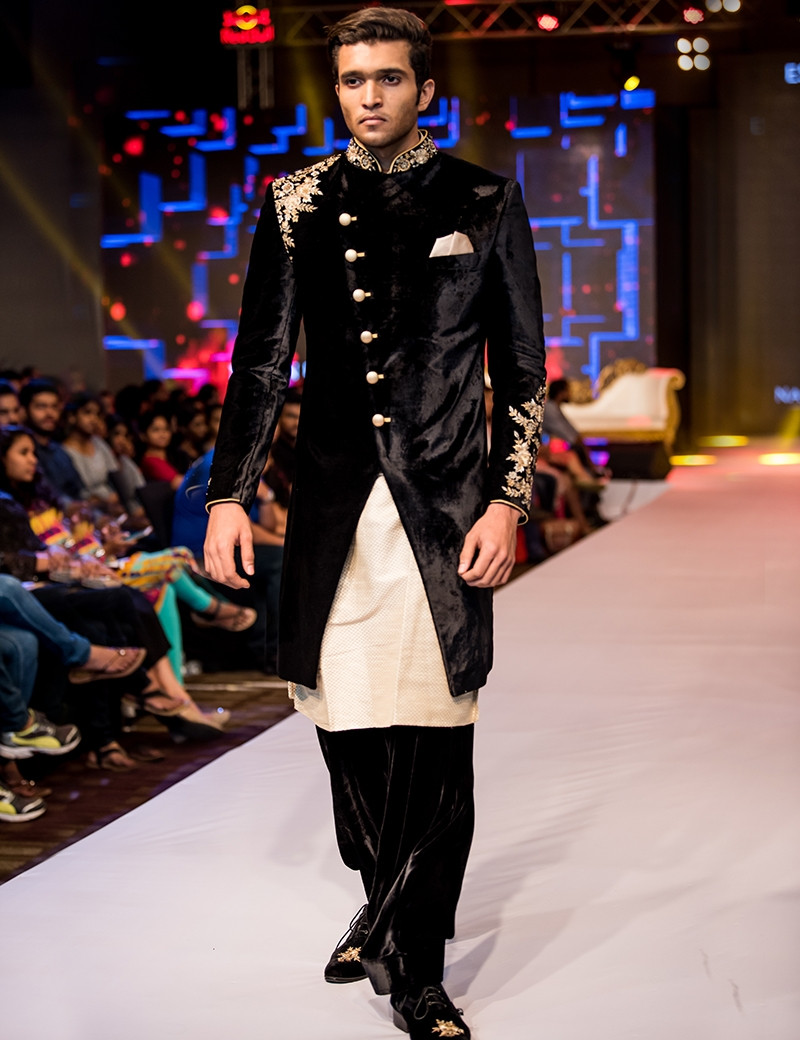 Royal Black Velvet Sherwani With Peshawari