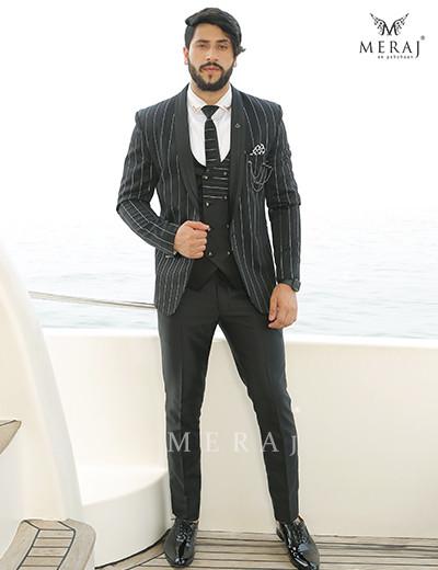 Polished striped Black Suit