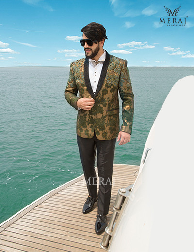 Shimmery Golden Tuxedo with Olive Green Floret