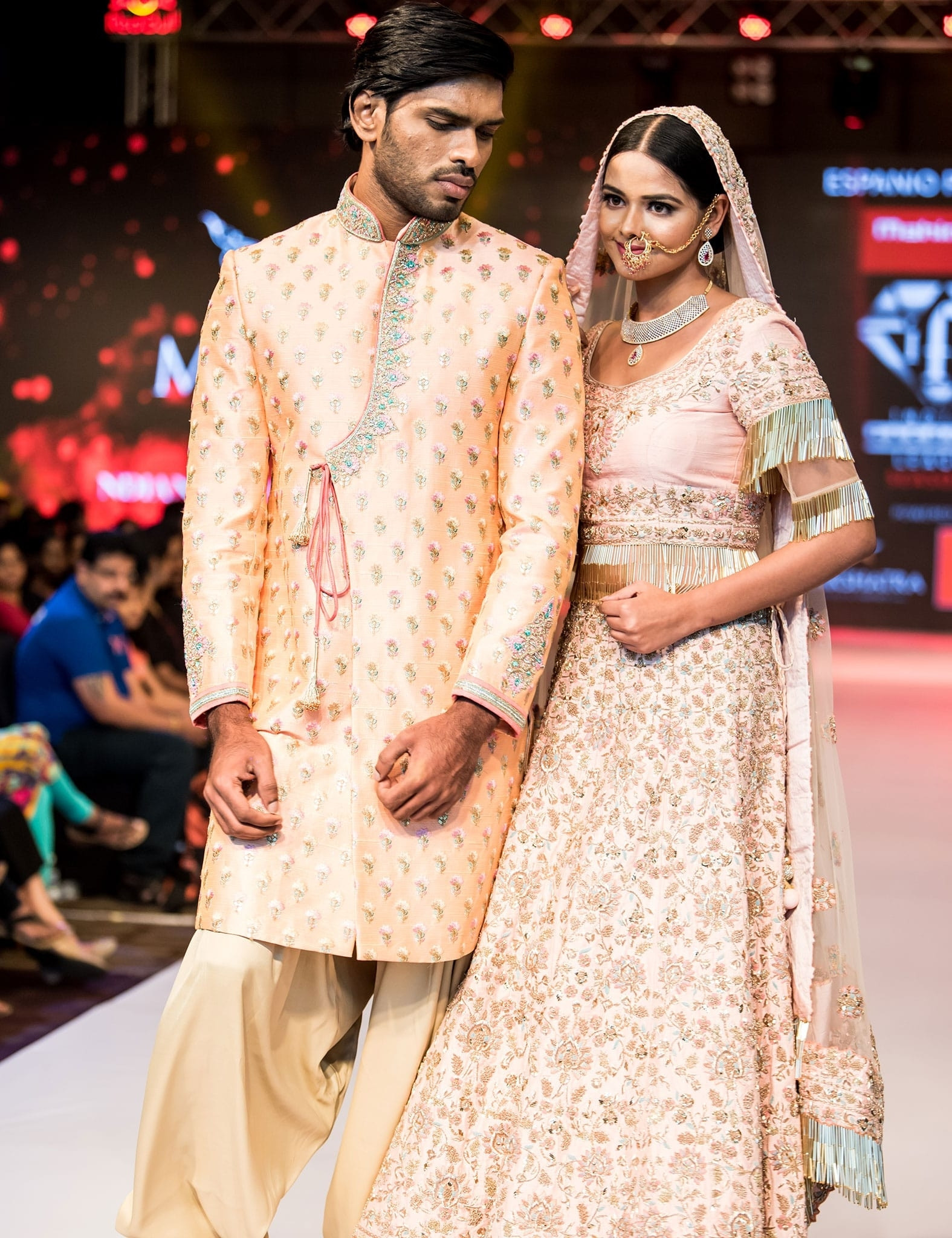 Gorgeous Couple In Patel Pink & Peach Combo