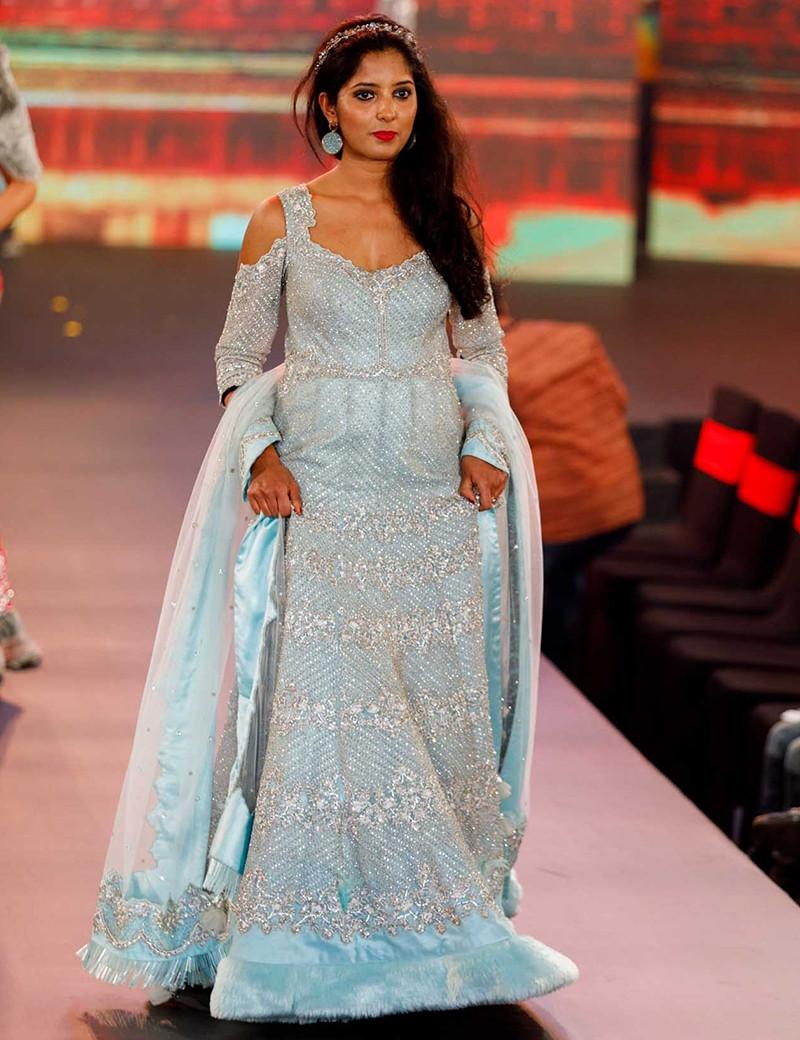 Aqua Blue Fur Gown