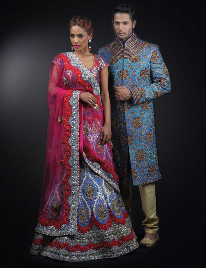 Elegant Couple In Blue Silk Outfit