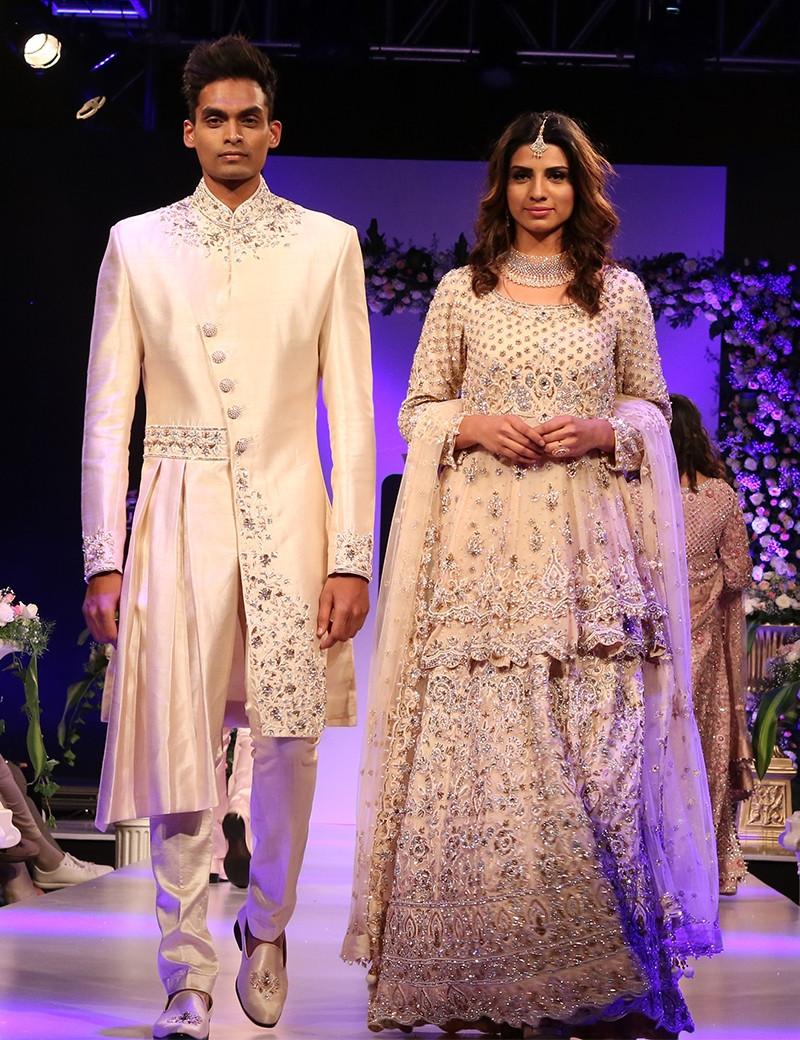 Enchanting Off-White Couple Designer Wear