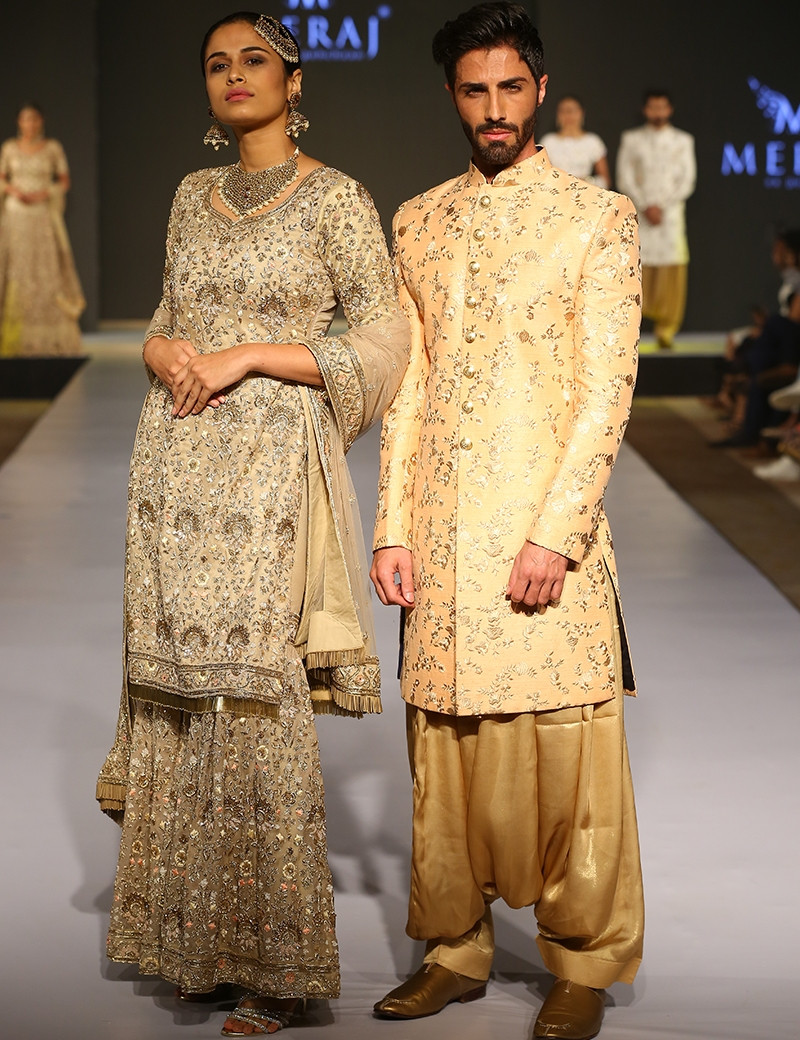 Gold & Beige Traditional Couple Wear