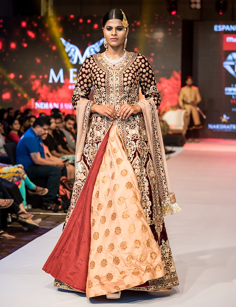Gorgeous Fully Embellished Maroon And Golden Indowestern Gown With Dupatta