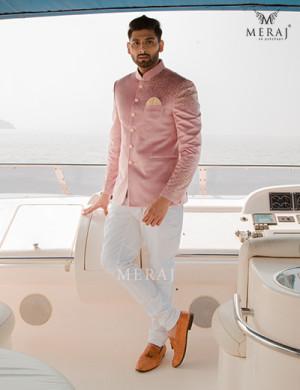 Elegant Pink colored Bandhgala Jodhpuri on Suede Velvet fabric