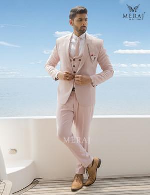 Embossed Check Designed Peach Suit