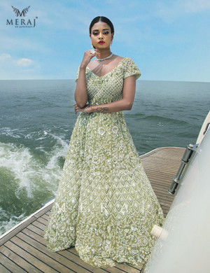 Delicately Embellished : Scintillating Green Crop top with Lehenga