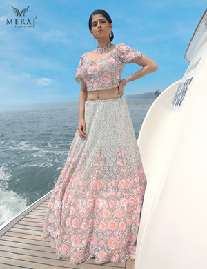 Bold Floral Designed Green x Pink Crop top with Lehenga