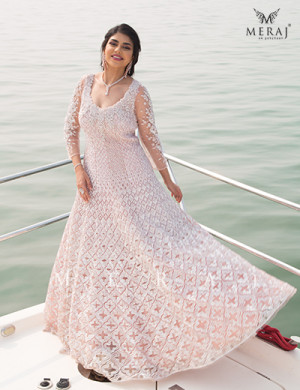 Elegant Geometric Designed Bisque Brown Gown