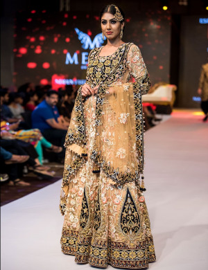 Magnificent Black, Beige And Pink Ghagra Choli With Dupatta