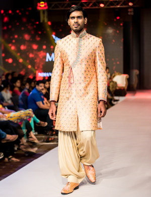 Designer Printed Light Orange Sherwani With Golden Dhoti