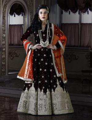Ethereal Cross Maroon Velvet Bridal Gown