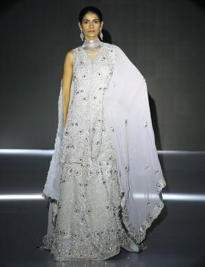 Gorgeous Silver Lehenga With Loose Sleeves Choli And Dupatta