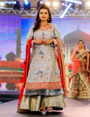 Grey Embllished Fur Lehenga