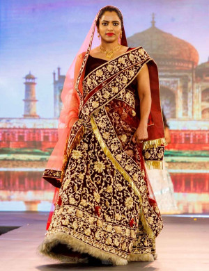 Magnificent Maroon Gold Fur Lehenga