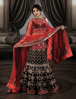 Maroon Velvet Bridal Ghagra choli with Red Dupatta