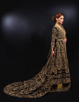 Midnight Blue Velvet Indowestern Tail Gown