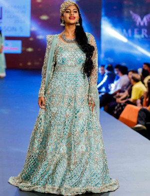 Pastel Blue Cutwork Gown