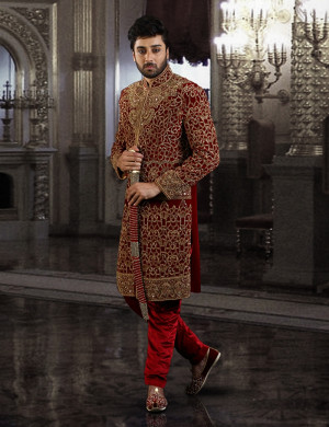 Regnant Maroon Sherwani