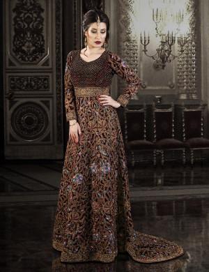 Royal Maroon Velvet Wedding Tail Gown