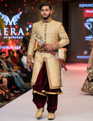 Traditional Golden Sherwani With Straight-Cut Pants