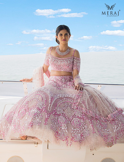 Scaluped Designed Pink Crop top with Lehenga
