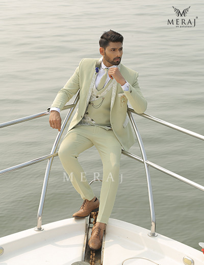 Stunning Sorrento Green suit with Printed Lapel