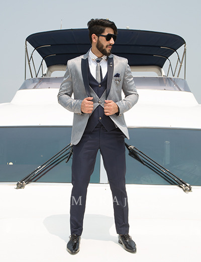 Gunmetal Glint  Tuxedo with Navy Blue Lapel