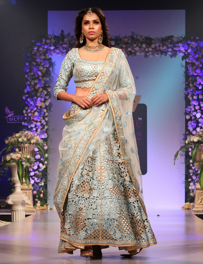 Aqua Blue Cut Work Lehenga