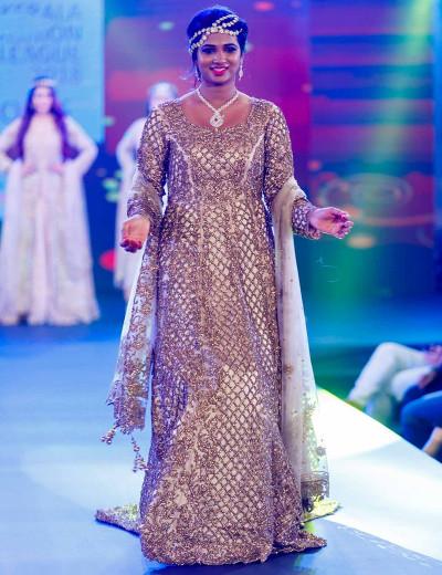 Beige Criss Cross Designer Gown
