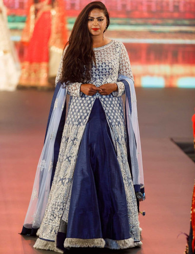 Blue and White Indo-Western