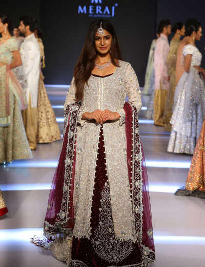 Full-Embroidered And Stones-Embedded Silver-Maroon IndoWestern Gown