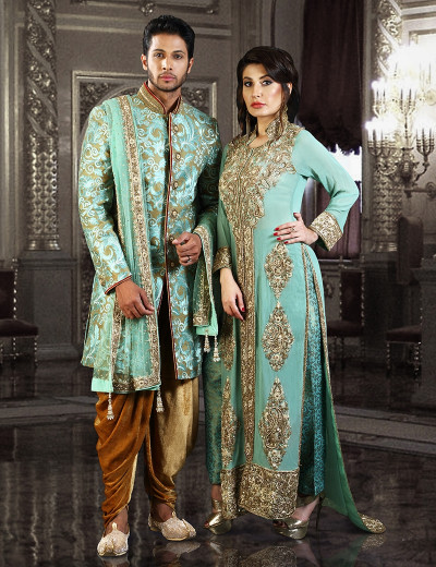Charismatic Pastel Indo-Western Couple