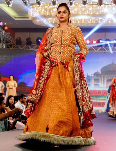 Charming Orange Fur Indo-Western