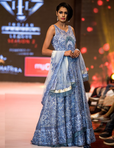 Elegant Powder Blue Indowestern Gown With Stone And Thread Work