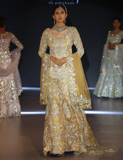 Glittering Yellow Long Choli Lehenga With Embellished Dupatta
