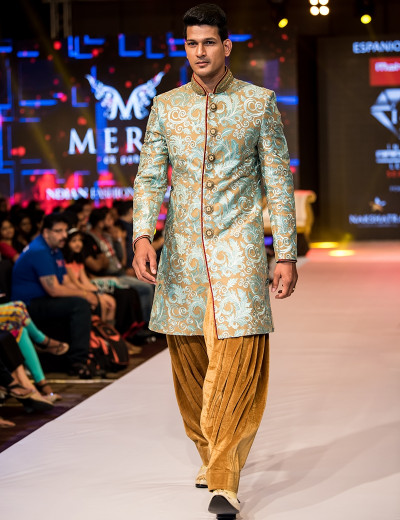 Golden Stone Embellished Sherwani With Peshawari