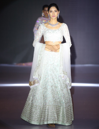 Graceful Silver Lehenga Choli With Dupatta