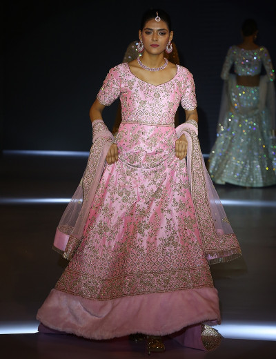 Intricately Designed Pink Long Choli Lehenga With Dupatta