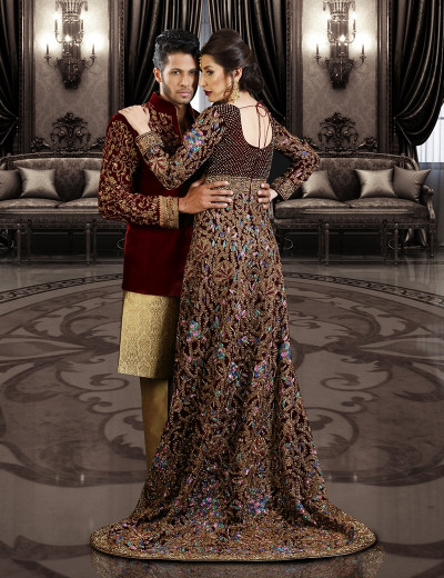 Modern Couple In Maroon Ensemble