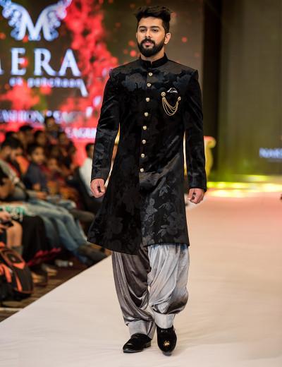 Royal Black Printed Sherwani With Silver Dhoti Style Bottom
