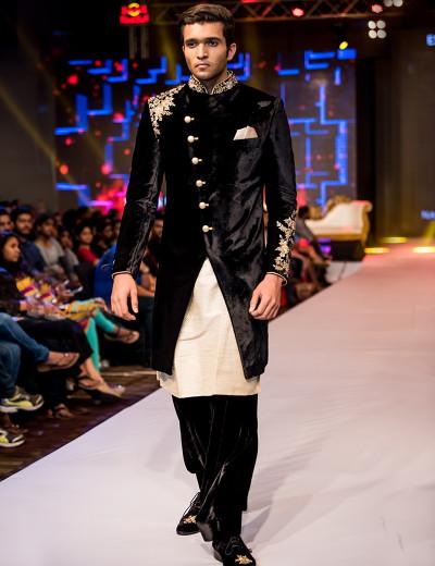 Royal Black Velvet Sherwani With Peshawari