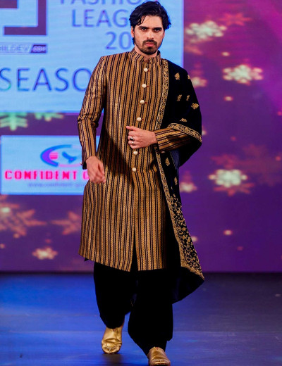 Stripe Sherwani With Stole