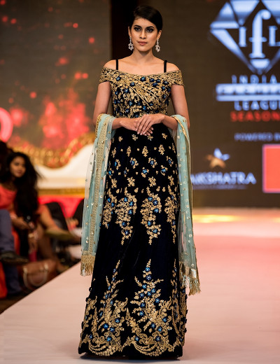 Stunning Off-Shoulder Indowestern Black Gown With Golden And Blue Motifs